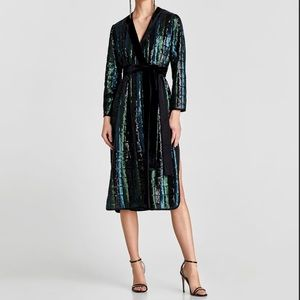 NWT Zara Sequined Kimono Crossover Dress w/velvet